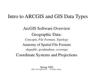 Intro to ARCGIS and GIS Data Types