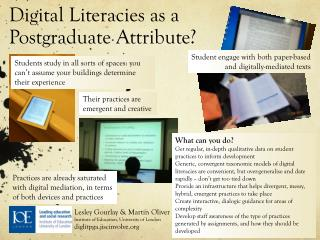 Digital Literacies as a Postgraduate Attribute?