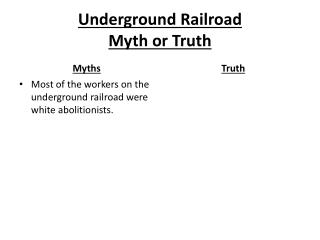 Underground Railroad  Myth or Truth