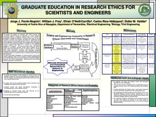 GRADUATE EDUCATION IN RESEARCH ETHICS FOR  SCIENTISTS AND ENGINEERS