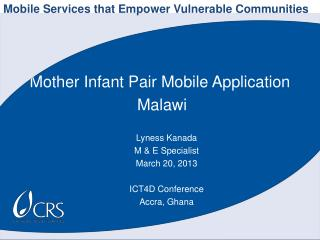 Mother Infant Pair Mobile Application  Malawi