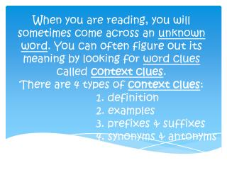 1. definition 2. examples 3. prefixes & suffixes 4. synonyms & antonyms