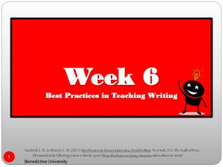 Week 6  Best Practices in Teaching Writing