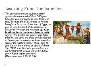Learning From The Israelites