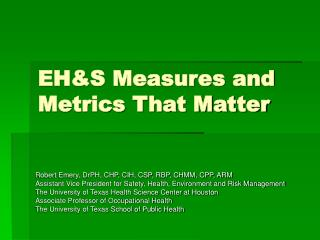 EHS Measures and Metrics That Matter