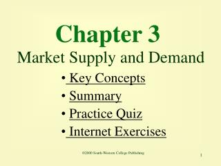 Chapter 3  Market Supply and Demand