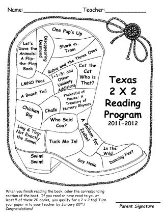 Texas  2 X 2  Reading Program 2011-2012