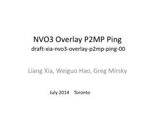 NVO3 Overlay P2MP Ping draft-xia-nvo3-overlay-p2mp-ping-00