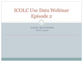 ICOLC Use Data Webinar Episode 2