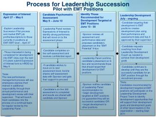 Process for Leadership  Succession  Pilot  with EMT Positions