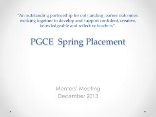Mentors' Meeting December 2013
