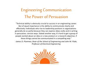 Engineering Communication The Power of Persuasion