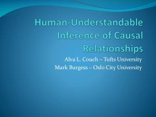 Human-Understandable Inference of Causal Relationships