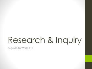 Research & Inquiry