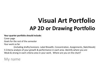 Visual Art Portfolio AP  2D or Drawing Portfolio