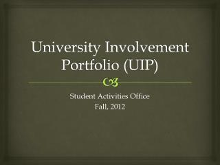 University Involvement Portfolio (UIP)