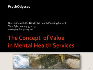 The Concept  of Value in Mental Health Services