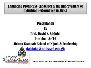 Enhancing Productive Capacities & the Improvement of Industrial Performance in Africa