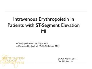 Intravenous Erythropoietin in Patients with ST-Segment Elevation MI