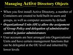 Managing Active Directory Objects
