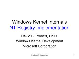 Windows Kernel Internals NT Registry Implementation