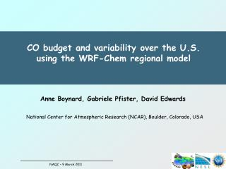 CO budget and variability over the U.S.  using the WRF-Chem regional model