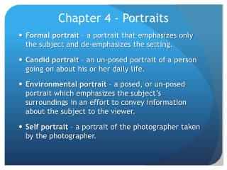 Chapter 4 - Portraits