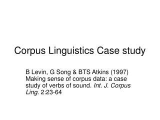 Corpus Linguistics Case study
