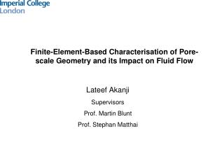 Finite-Element-Based  Characterisation of Pore-scale Geometry and its Impact on Fluid Flow