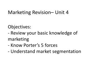 Marketing Revision– Unit 4