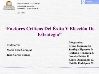 Factores Cr ticos Del  xito Y Elecci n De Estrategia