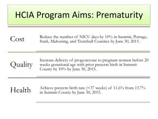 HCIA Program  Aims: Prematurity