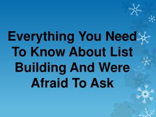 Secrets of List Building