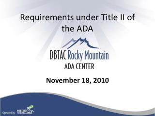Requirements under Title II of the ADA