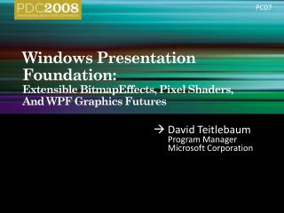 Windows Presentation Foundation:   Extensible BitmapEffects, Pixel Shaders,  And WPF Graphics Futures