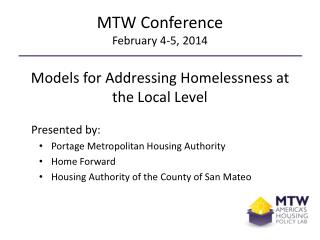 MTW Conference February 4-5, 2014