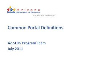 Common Portal Definitions