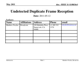 Undetected Duplicate Frame Reception