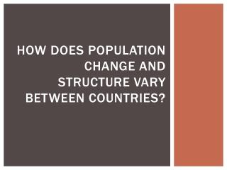 How does population change and structure vary between countries?