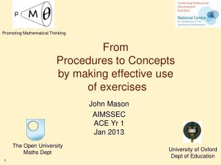 From Procedures to Concepts by making effective use  of exercises