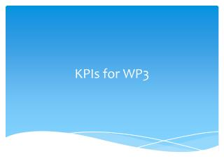KPIs for  WP3