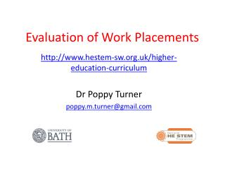 Evaluation of Work Placements