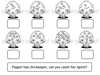 Poppet has chickenpox, can you count her spots?