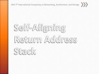 Self-Aligning Return Address Stack