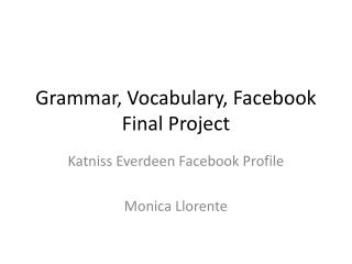 Grammar, Vocabulary,  Facebook  Final Project