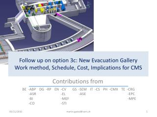 Follow up on option 3c: New Evacuation Gallery Work method, Schedule, Cost, Implications for CMS