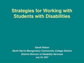 Strategies for Working with  Students with Disabilities