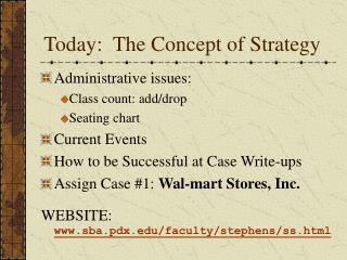 Today:  The Concept of Strategy
