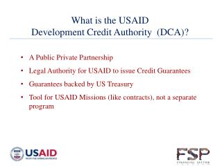 What is  the USAID Development Credit Authority  (DCA)?