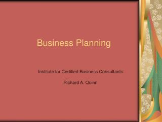 Business Planning part one